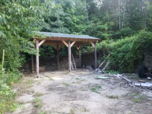 old barn foundation converted to patio area