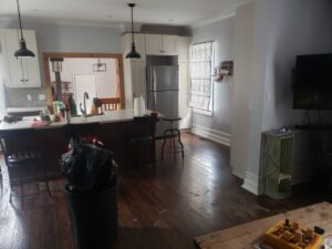 open concept farmhouse living room reno and kitchen
