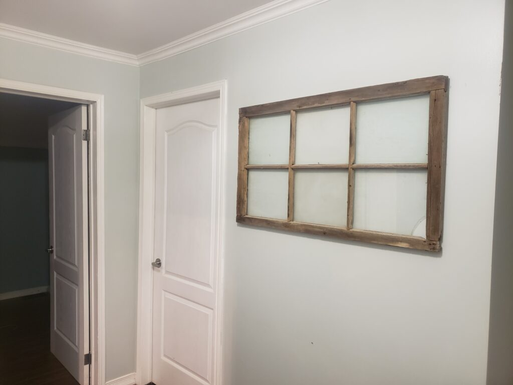 interior trim and painting with salvaged farmhouse decor