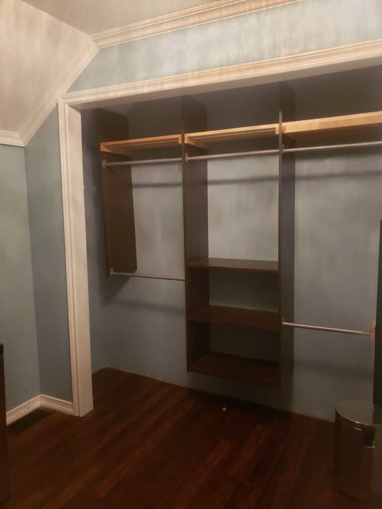 trim crown moulding and painting with closet organizer with custom shelves