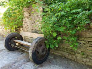 closeup custom rustic antique truck axle bench
